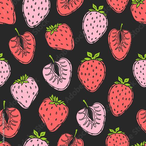 bezszwowy-natura-wzor-z-nakresleniem-owoc-czerwone-tlo-z-truskawkami-tropikalne-jedzenie