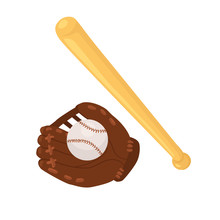 Hand Drawn Baseball Accessories Isolated On White Background. Baseball Glove, Bat And Ball Vector Illustration.