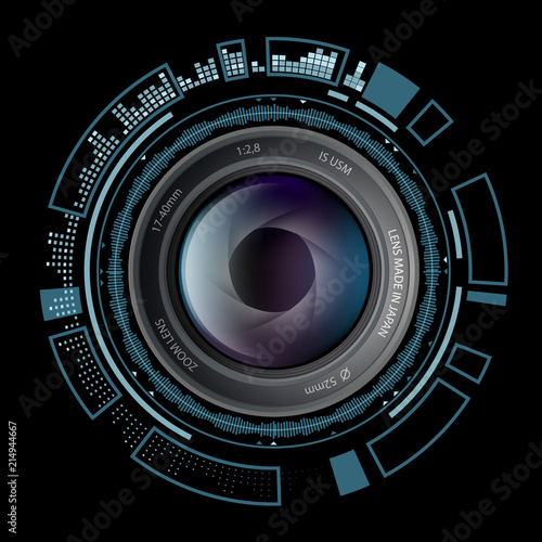 Camera photo lens with HUD interface. Stock vector illustration.