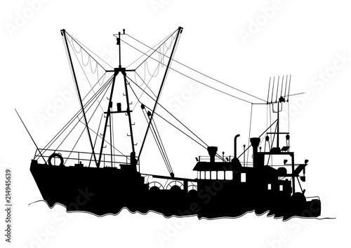 Silhouette of a trawler Fototapet