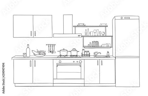 Interior Sketch Of Kitchen Room Outline Blueprint Furniture Design