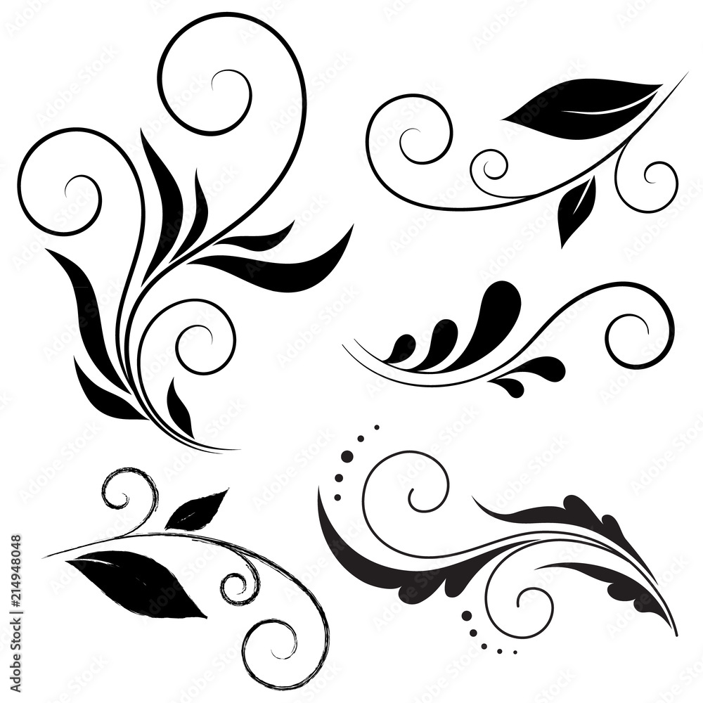 Fototapety, obrazy: Calligraphic design elements, Vector set