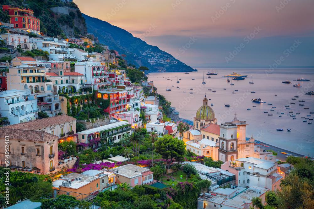 Fototapety, obrazy: Positano. Aerial image of famous city Positano located on Amalfi Coast, Italy during sunrise.