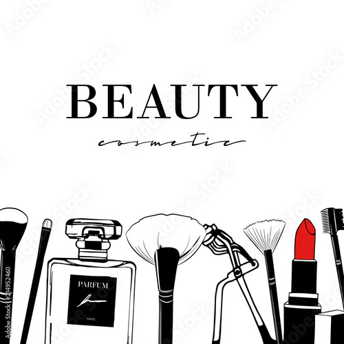Beauty Cosmetic Set Of Hand Drawn Cosmetics Make Up Artist Objects Lipstick Perfumes Brushes Eyelash Curling Hand Drawn Vector Beauty Background Makeup Beauty Banner Template Design Fashion Set Buy This Stock