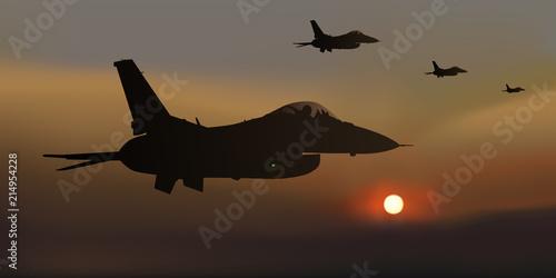 Photo  avion de chasse - guerre - avion - escadrille - F16 -combat aérien - militaire -