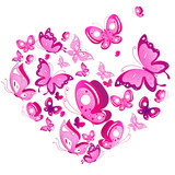 Fototapeta Motyle - pink butterflies design, heart,isolated on a white background