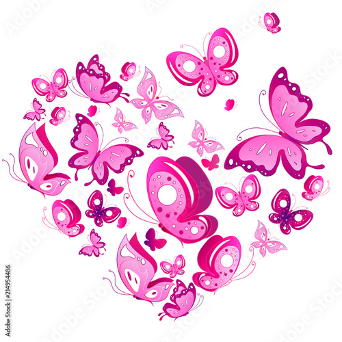 pink butterflies design, heart,isolated on a white background