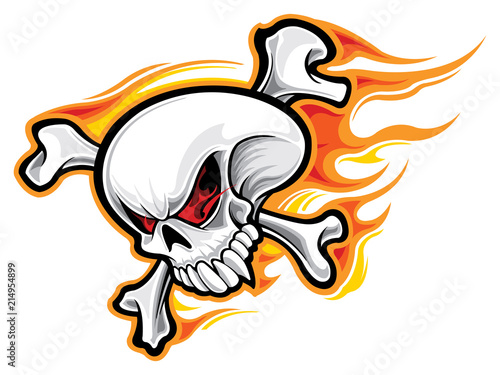 Photo  Skull with flames