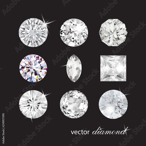 Сollection of different shapes vector diamonds Canvas Print
