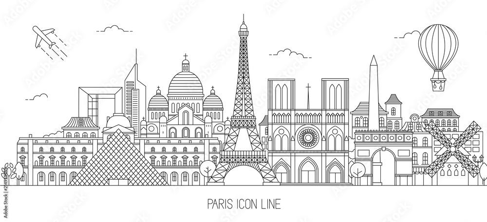 Fototapety, obrazy: Paris skyline vector illustration