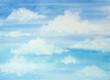 Leinwandbild Motiv Watercolor blue sky with clouds