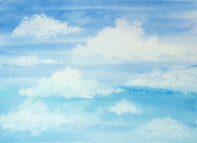 Watercolor Blue Sky With Clouds