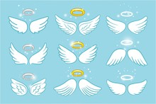 Wings And Nimbus. Angel Winged...