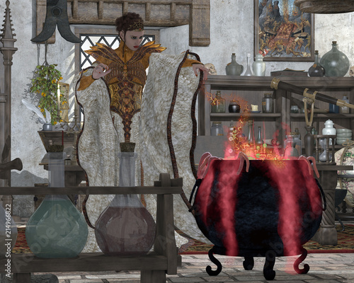 Dark Potion - A mystical witch makes a large kettle of
