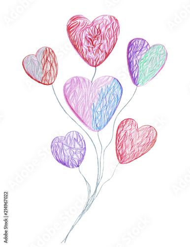 Fototapeta Hand drawing watercolor pencils different kinds of hearts obraz na płótnie