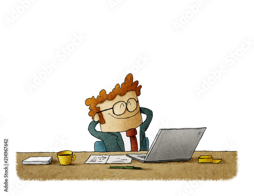 Fotografía  illustration of Handsome businessman is smiling while relaxing on chair in office