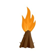 Tepee Fire Icon. Flat Illustration Of Tepee Fire Vector Icon For Web Isolated On White
