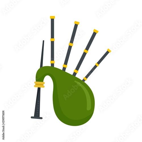 Tablou Canvas Green bagpipes icon