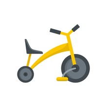 Baby Tricycle Icon. Flat Illustration Of Baby Tricycle Vector Icon For Web Isolated On White
