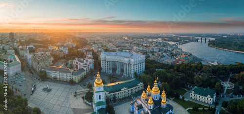 Deurstickers Kiev Beautiful panoramic view of the city of Kiev. Aerial view of St. Michael's Golden-Domed Monastery in the sunset. Ukraine
