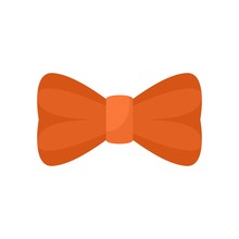 Orange Bow Tie Icon. Flat Illu...
