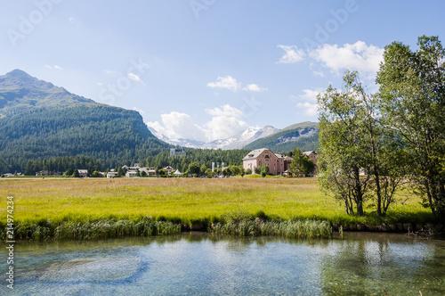 Carta da parati Sils, Segl, Sils-Maria, Silsersee, Seenplatte, Inn, Fluss, Val Fex, Fextal, Ober