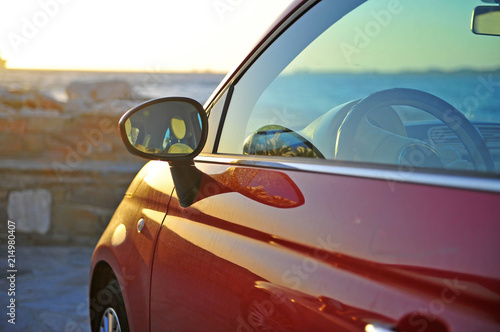 ew Fiat 500 parked by the sea Canvas Print