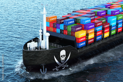Freighter ship with piracy smuggling cargo containers sailing in ocean, 3D rende Wallpaper Mural