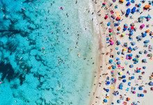 Aerial View Of Sandy Beach Wit...