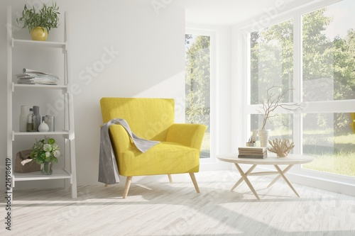 Fotografie, Obraz  Idea of white room with armchair and summer landscape in window