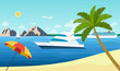 Sailing ship, yacht and cruise ship in the ocean. Beach landscape. Vector flat style illustration