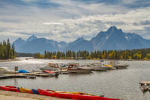 Colter Bay Marina In Autumn, Grand Teton National Park
