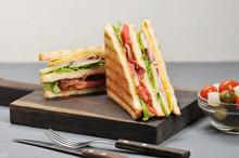 Classic Club Sandwich With Ham...