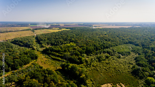 Foto op Plexiglas Luchtfoto Aerial view of the forest and field.