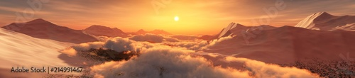 Foto auf Leinwand Dunkelbraun Peaks in the clouds at sunset. Panorama of the mountain landscape. 3D rendering