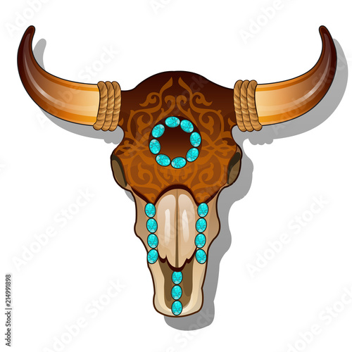 Foto  Ornate cow skull encrusted with turquoise precious stones