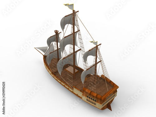 Fototapeta  Three-dimensional raster illustration of an ancient sailing ship on a white background with soft shadows