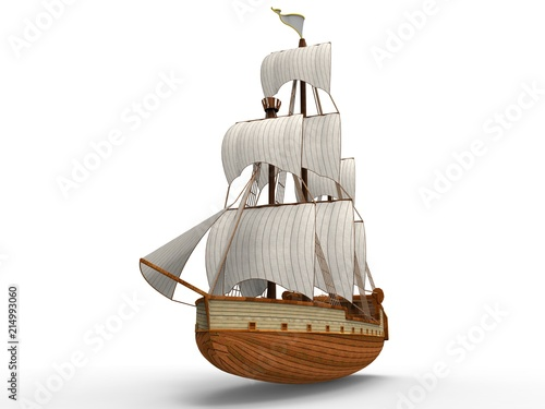Carta da parati  Three-dimensional raster illustration of an ancient sailing ship on a white background with soft shadows