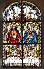 Naklejka Witraże sakralne Sacro Cuore di Gesù e di Maria; vetrata dell'antica chiesa parrocchiale di Gries, Bolzano