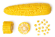 The Peeled Ear Of Corn, A Piece Of And Seeds On A White, Isolated. The View From The Top.