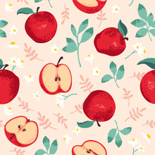 Vector Summer Pattern With Apples, Flowers And Leaves. Seamless Texture Design.