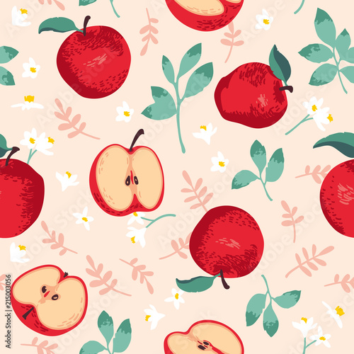 Obraz premium Vector summer pattern with apples, flowers and leaves. Seamless texture design.