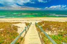 Wooden Stairs For Mettams Pool, North Beach Near Perth, Western Australia. Mettam's Is A Natural Rock Pool Protected By A Surrounding Reef. Summer Season.