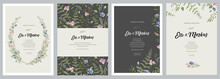 Design Greeting Card \ Wedding Invitations, Floral Frames For Your Vintage Posters And Backgrounds With Elements Of Meadow Flowers, Leaves