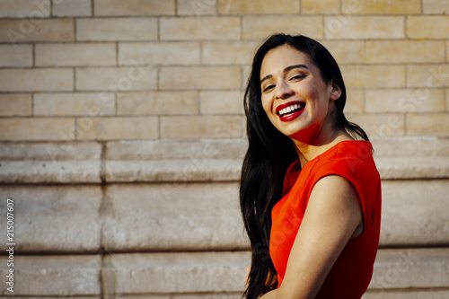 Fotografie, Obraz  Happy brunette looking at camera with big beautiful smile