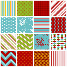 Holiday Seamless Background Pattern Set. Red, Green And Aqua Blue. Snowflake, Stripe, Polka Dot, Gingham, Diamond, Knit And Pillow Ticking Print. Christmas Pattern Set. Snowflakes.