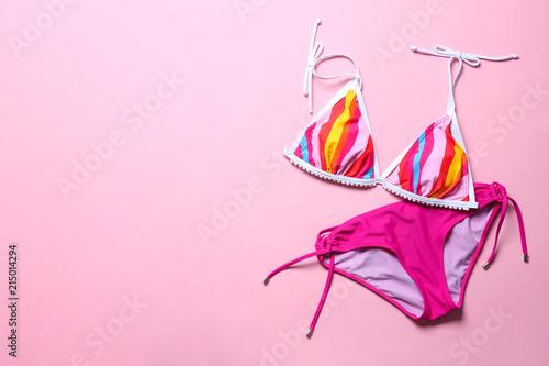 Obraz Stylish bikini on color background, top view - fototapety do salonu