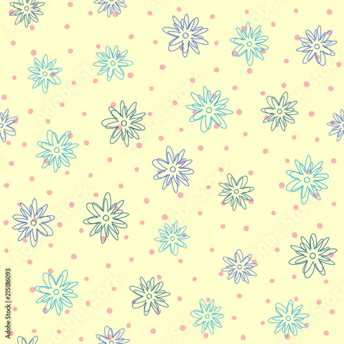 Repeated Outline Of Abstract Flowers On Background With