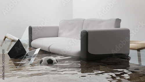 Fototapeta flooded water damage due to flooding in the house 3d-illustration obraz