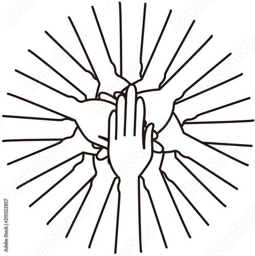 Fotografie, Obraz  円陣を組み、手を重ねる人々